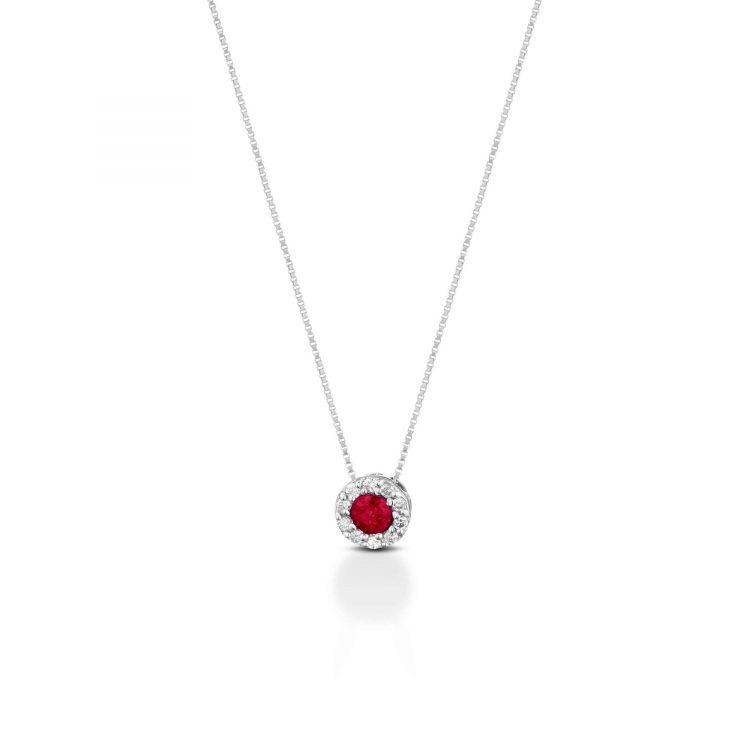 collana oro bianco con rubino white gold necklace with ruby sconto discount