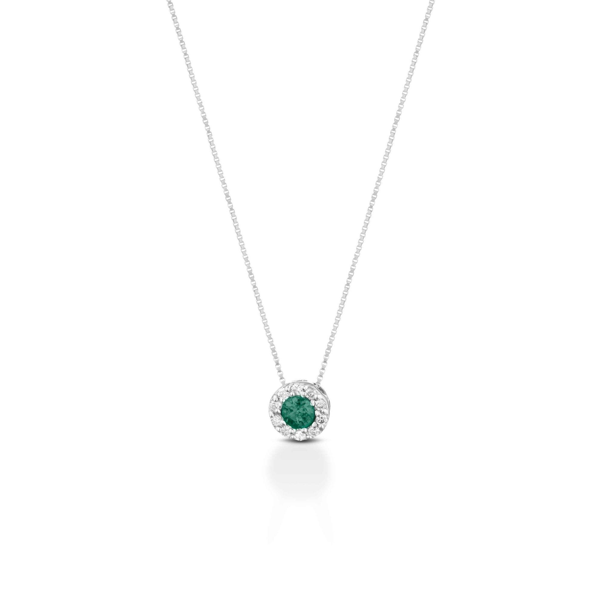 Collana oro bianco smeraldo e diamanti Necklace white gold emerald and diamonds sconto discount