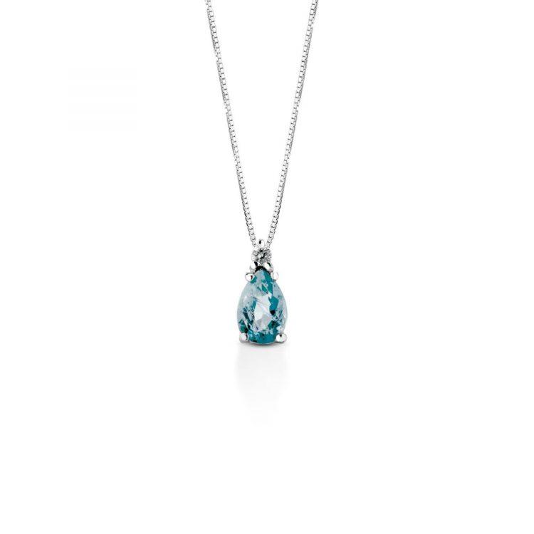 Collana oro bianco acquamarina e diamante Aquamarine and diamond necklace in white gold sconto discount