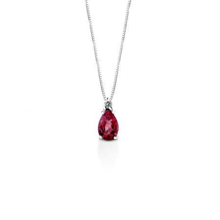 Collana oro bianco rubino e diamante White gold ruby and diamond necklace