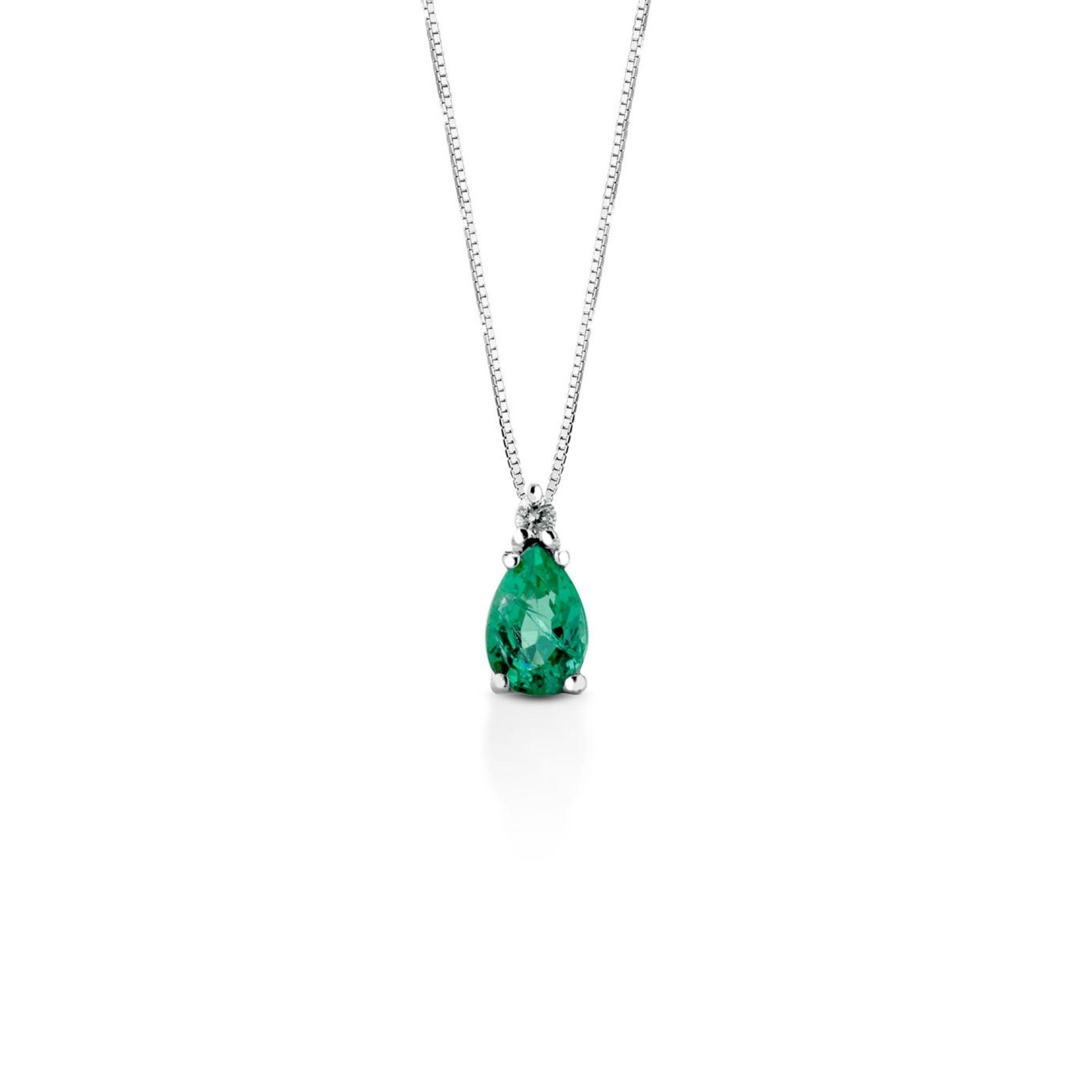 Collana oro bianco smeraldo e diamante sconto discount
