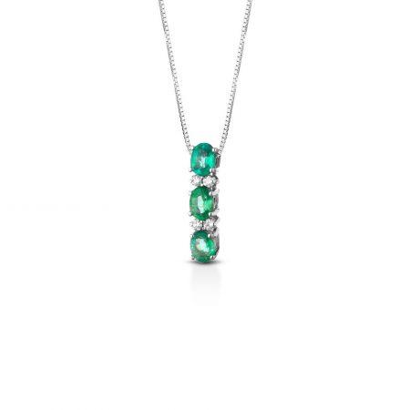 Collana diamanti e smeraldi Diamond and emerald necklace sconto discount