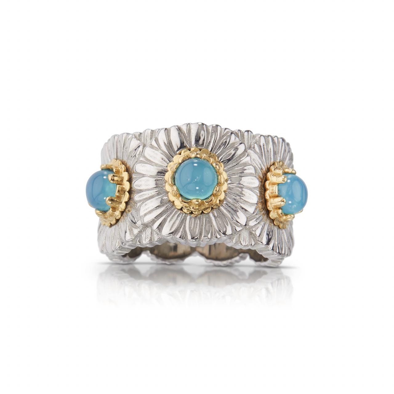 BUCCELLATI ANELLO ETERNELLE Daisy Blossom Color blu ring sconto discount ETE021326