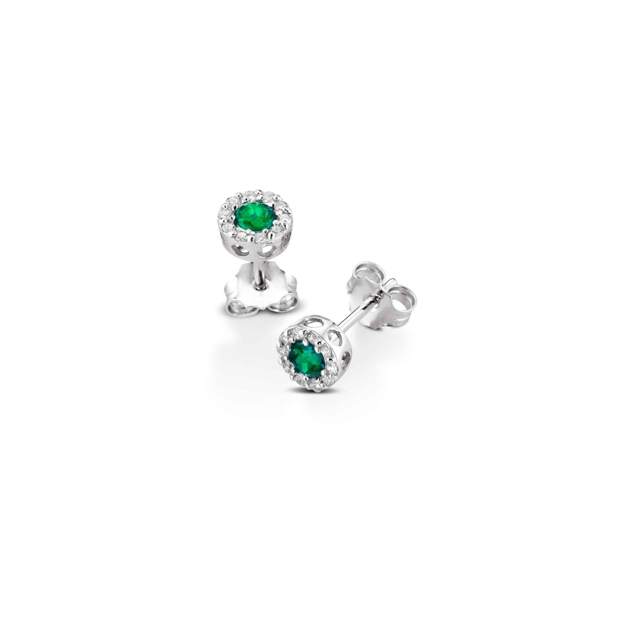 Orecchini al lobo con smeraldi e diamanti Lobe earrings with emeralds and diamonds