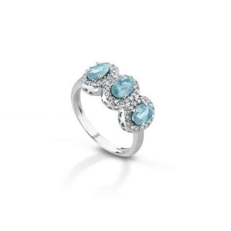 Anello trilogy con diamanti e acquamarine Trilogy ring with diamonds and aquamarines