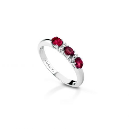 Anello trilogy con diamanti e rubini Trilogy ring with diamonds and rubies sconto discunt