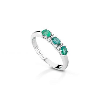 Anello trilogy con diamanti e smeraldi Trilogy ring with diamonds and emeralds t