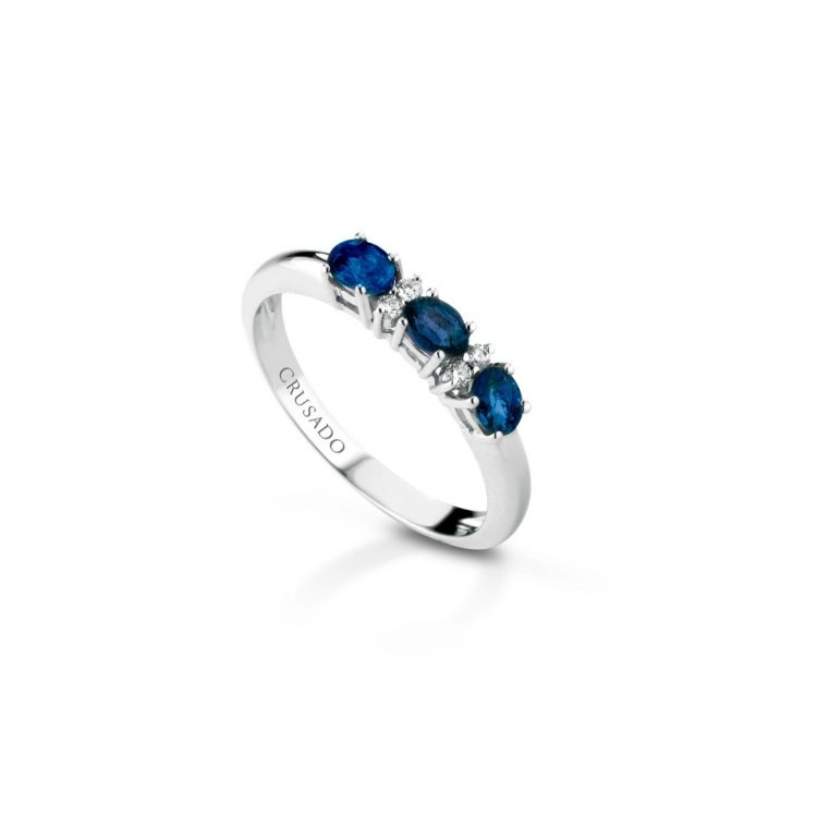 Anello trilogy con diamanti e zaffiri Trilogy ring with diamonds and sapphires sconto discount
