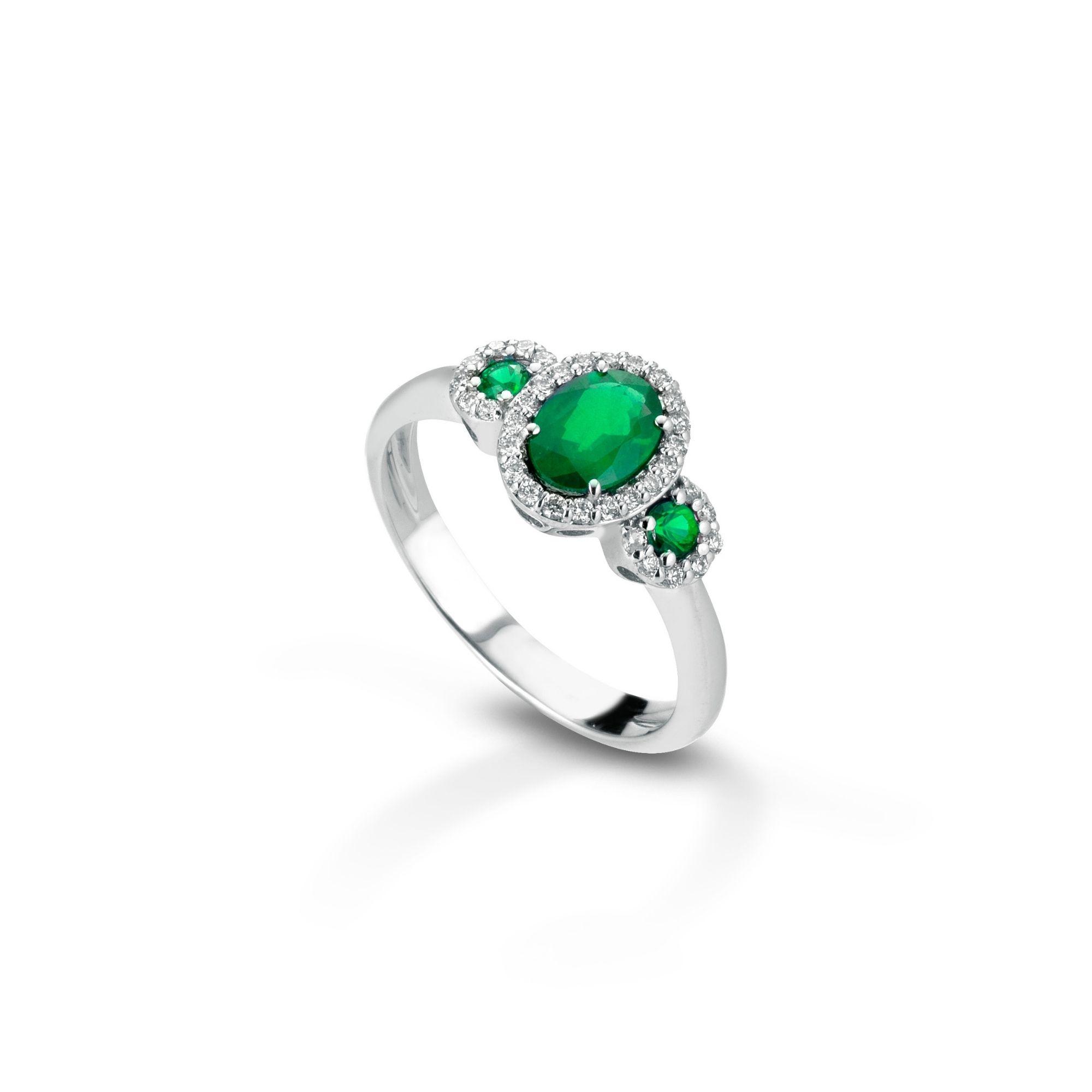 Anello con diamanti e smeraldi Ring with diamonds and emeralds sconto discount