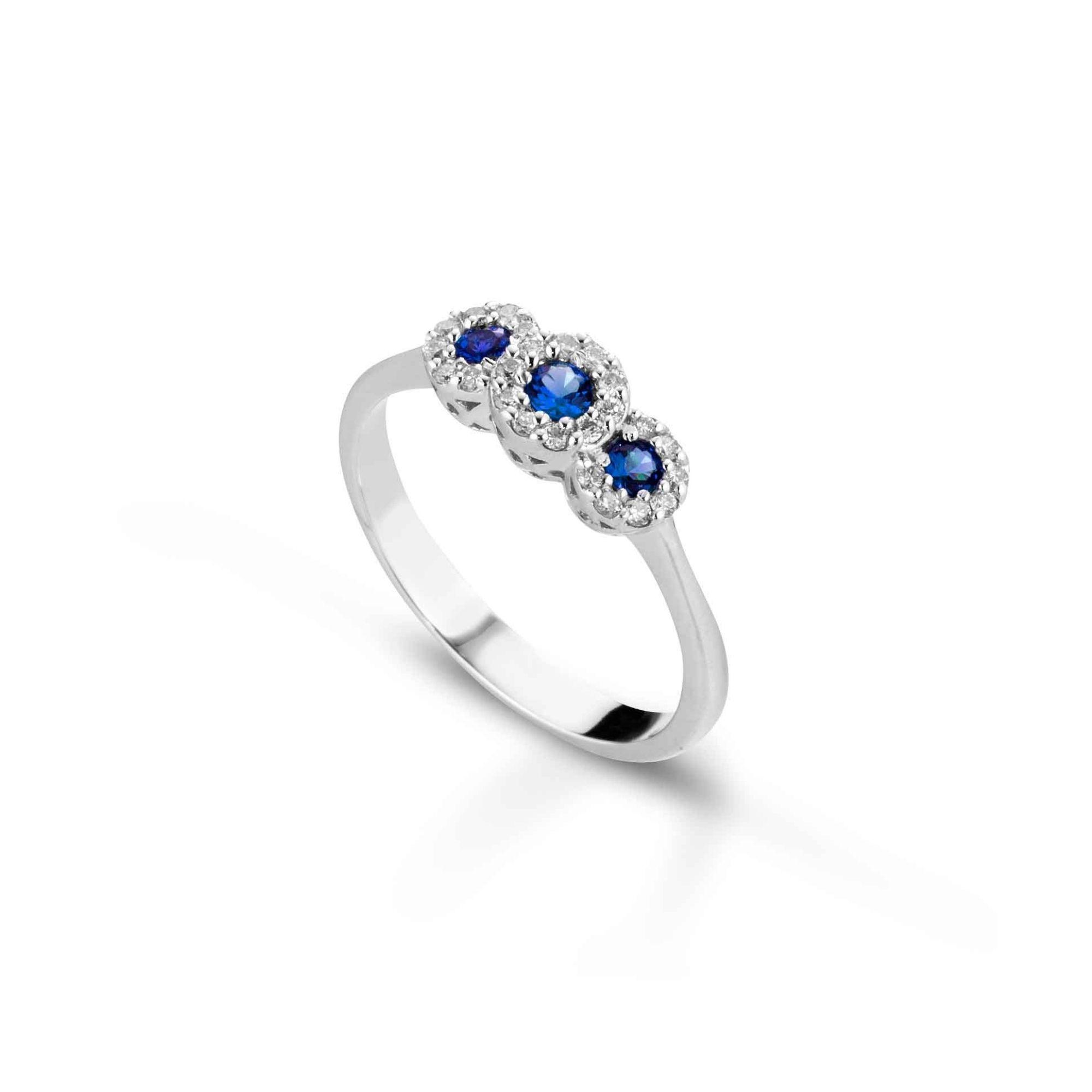 Anello trilogy con diamanti e zaffiri Trilogy ring with diamonds and sapphires sconto discount ab