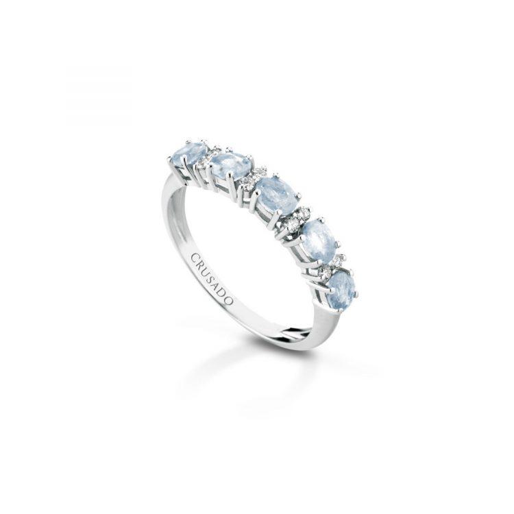 Anello acquamarina e diamanti Aquamarine and diamond ring sconto discount
