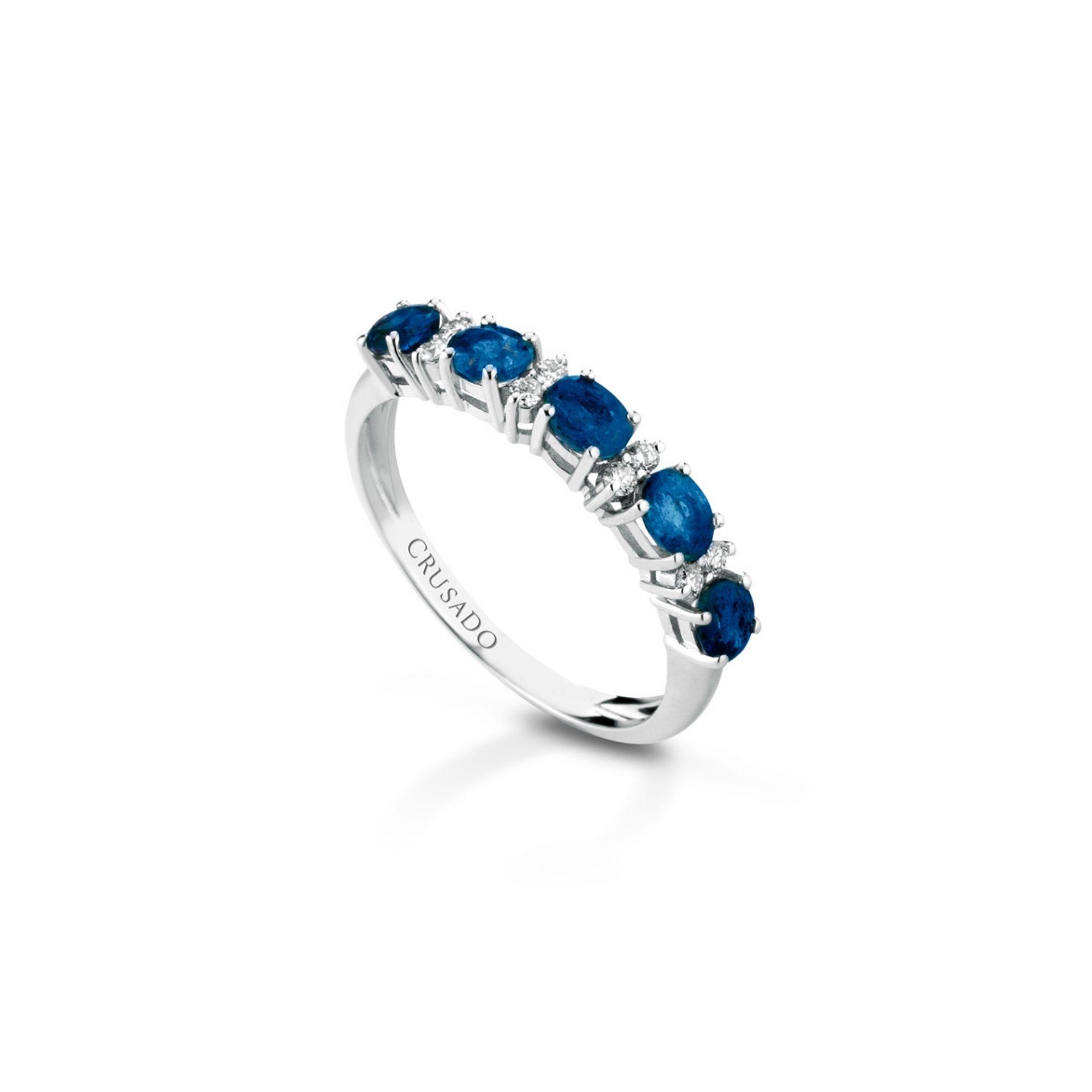 Anello con diamanti e zaffiri Ring with diamonds and sapphires sconto discount