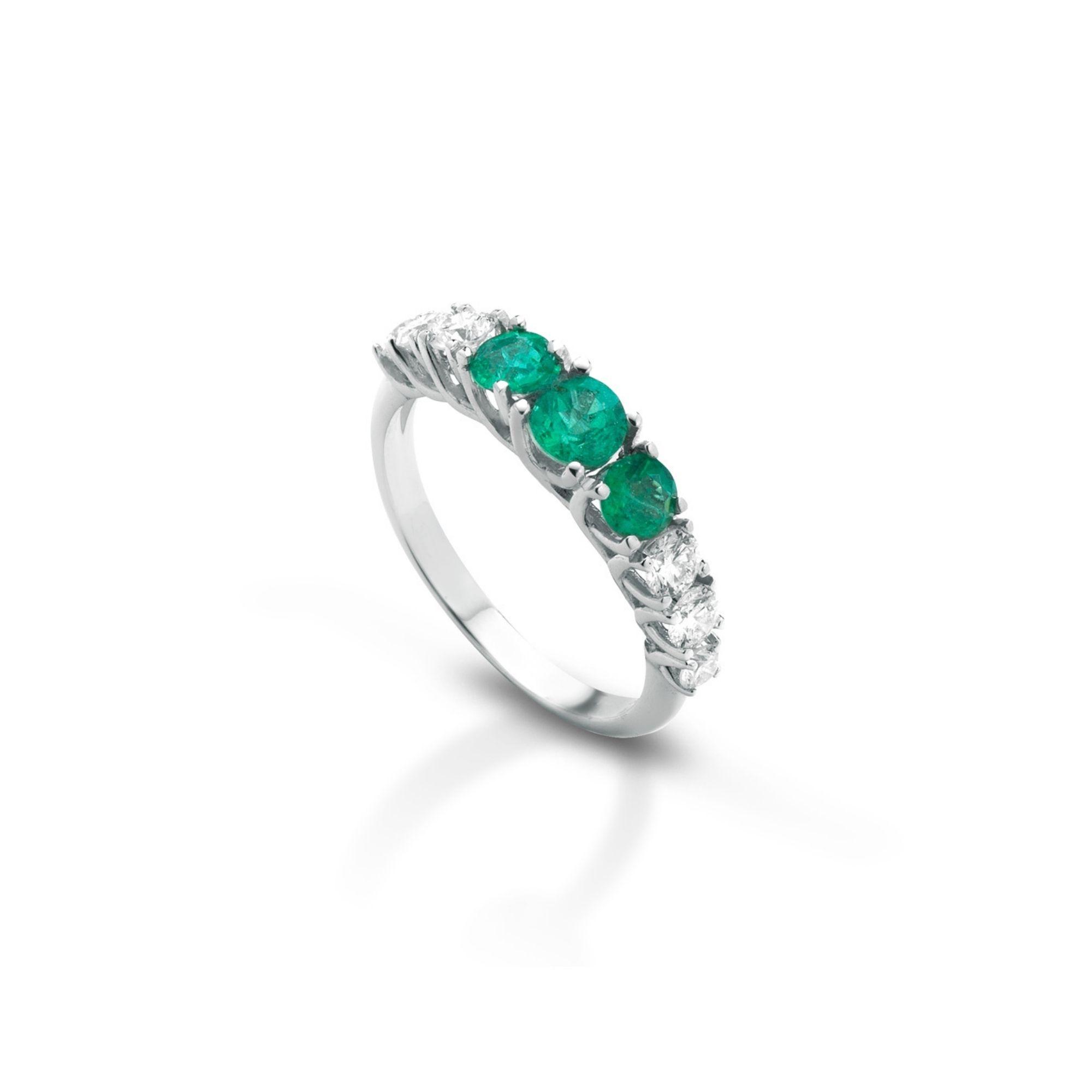 Anellosmeraldi e diamanti Emeralds and diamonds ring mix sconto discount