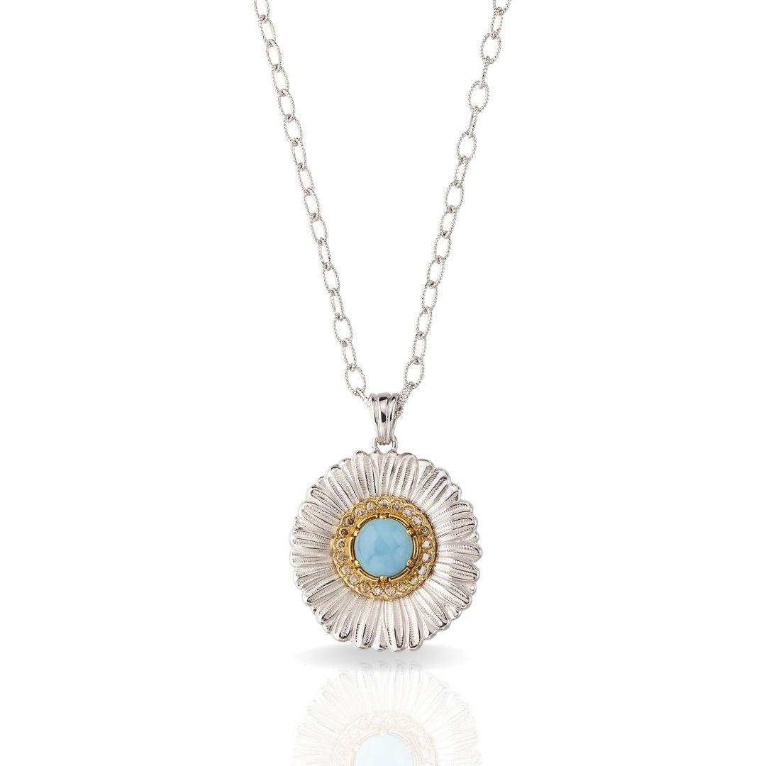 BUCCELLATI collana con ciondolo Daisy Blossom Color agata azzurra agate blue