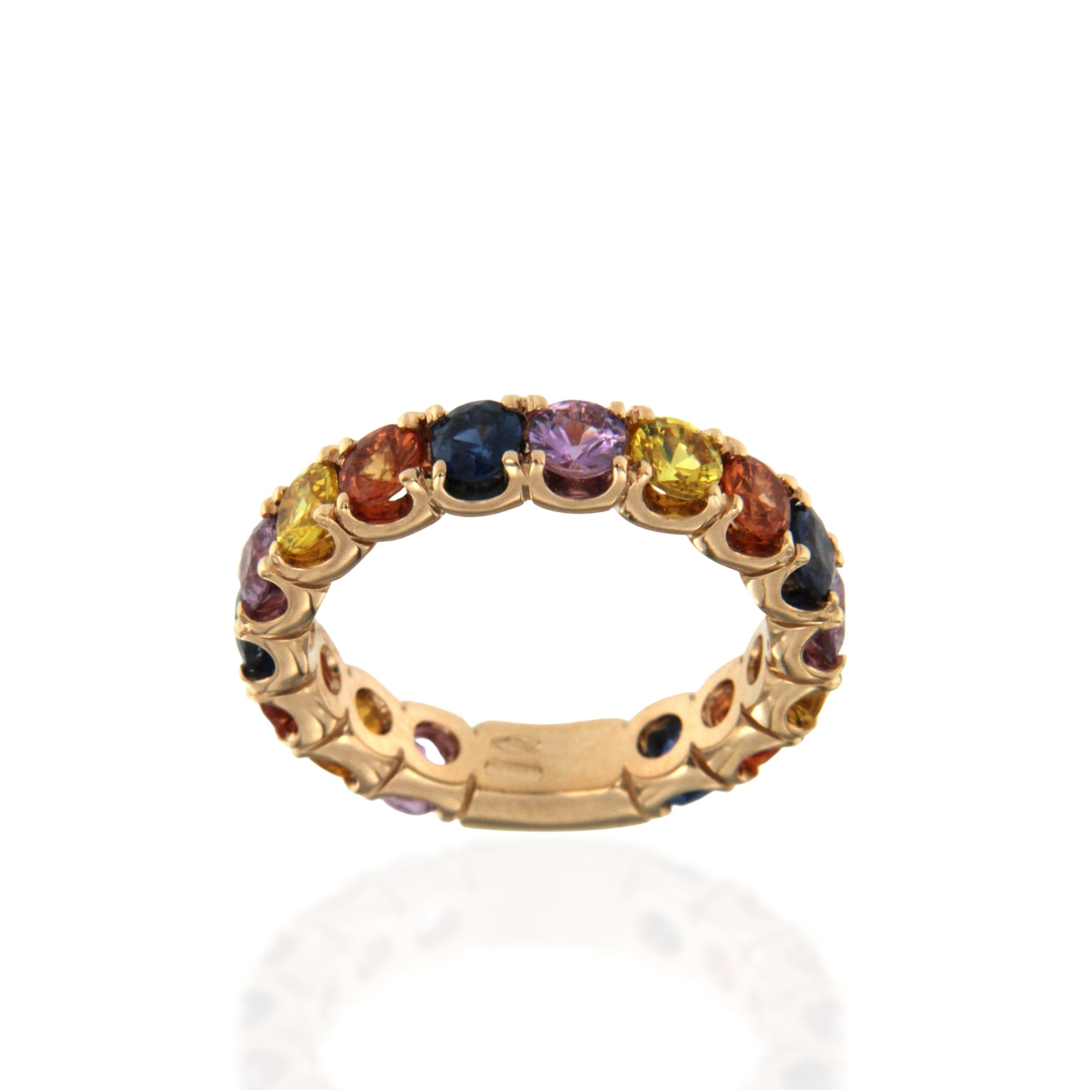 CIRCLE ring rose gold multicoloured sapphires sconto discount