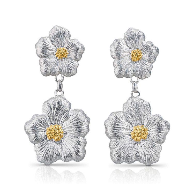 Orecchini Gardenia pendenti fiore piccolo+fiore grande con doratura cod. SOFRGARPPGY blossom earring large