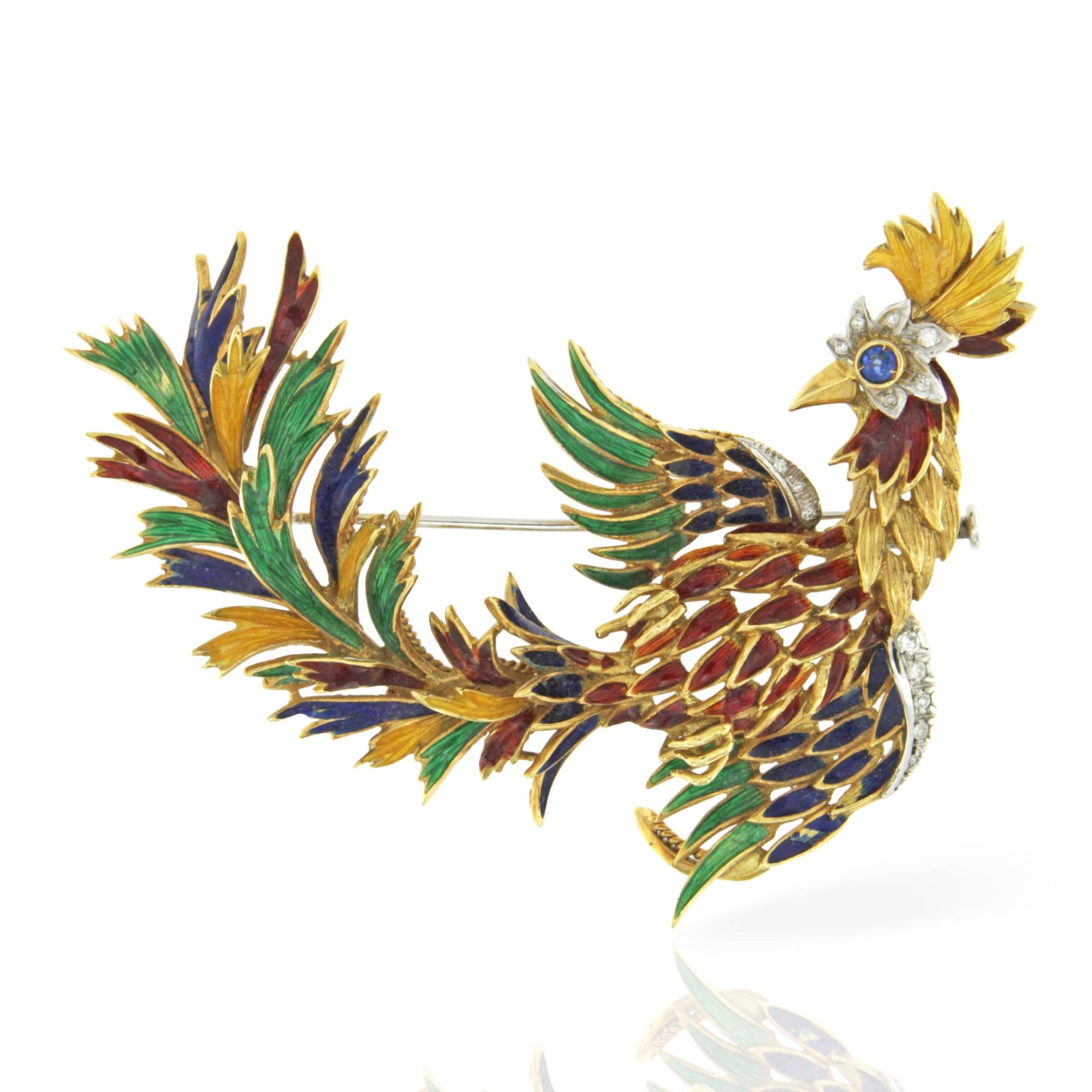 spilla uccello del paradiso oro diamanti e smalti Lunati pin brooch enamel diamond sapphires